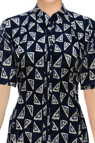 Midnight Blue Geometric motifs Block Print Print Kurti