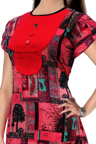 Red Solid patch with abstract print Digital Print Surat Kurti