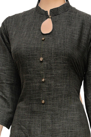 Dark Carbon Grey  High Low with Chinese Collar Plain Weave Surat Kurti