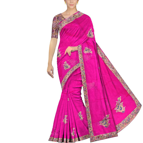 Deep Pink Surat Sarees Kalamkari Plain body flower buta patchwork Saree