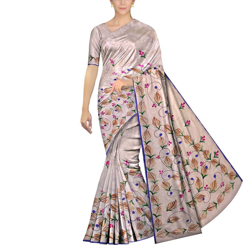 Pearl Uppada Hand Print Plain body leaf & branch cross pallu Saree
