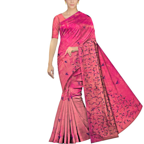 Watermelon Pink Uppada Hand Print Plain body leaf & branch cross pallu Saree