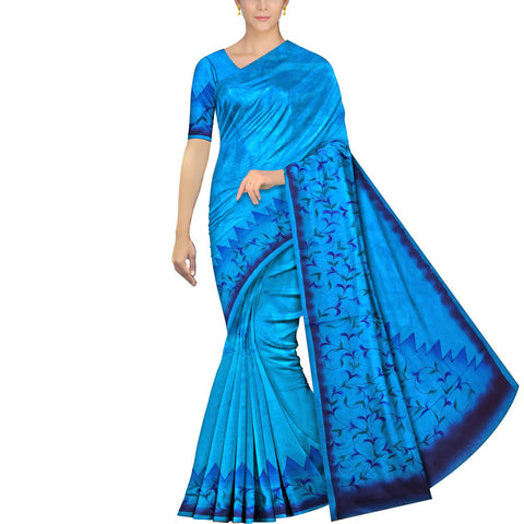 Deep Sky Blue Uppada Hand Print Plain body leaf & branch cross pallu Saree
