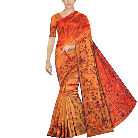 Dark Orange Uppada Hand Print Plain body leaf & branch cross pallu Saree