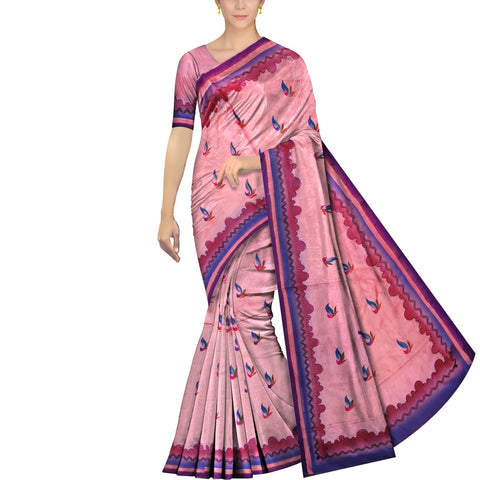 Pink Uppada Hand Print Waves & flower hand buta border Saree