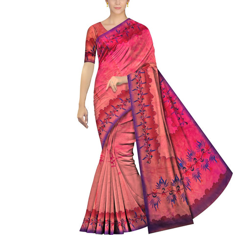 Watermelon Pink Uppada Hand Print Waves & flower hand buta border Saree