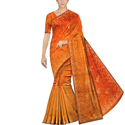 Dark Orange Uppada Hand Print Plain body mango hand buta allover Saree