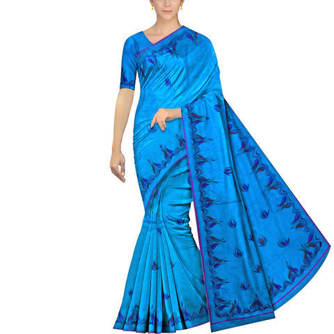 Deep Sky Blue Uppada Hand Print Plain body mango hand buta allover Saree