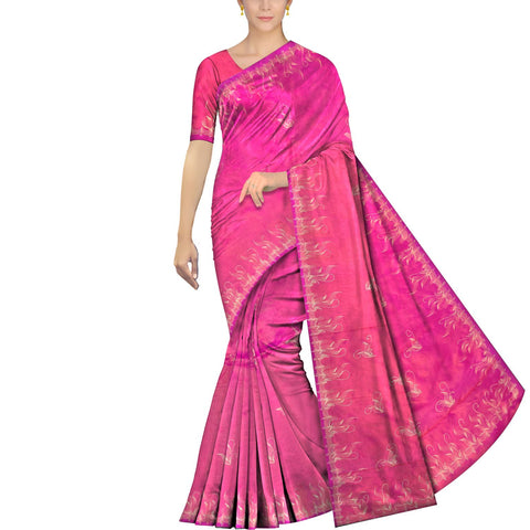 Deep Pink Uppada Hand Print Plain body mango hand buta allover Saree