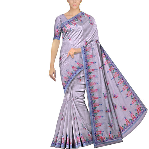 Pastel Blue Uppada Hand Print Plain body mango hand buta allover Saree