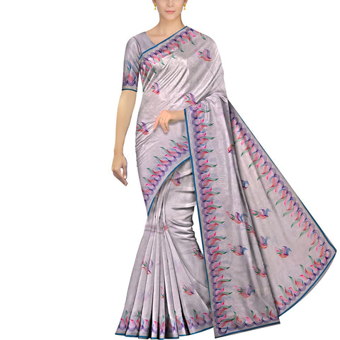 Bluish Grey Uppada Hand Print Plain body mango hand buta allover Saree