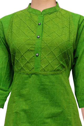 Parrot Green Elbow Sleeves with Pintex and Chinese Collar Apple Cut South Kurti