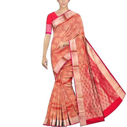 Valentine Red Kanchi Kanchi border body zari work Handweave Saree