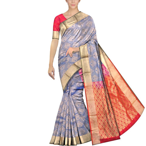 Steel Blue Kanchi Kanchi border body zari work Handweave Saree