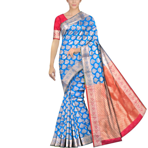 Silk Blue Kanchi Kanchi border body zari work Handweave Saree