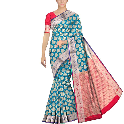 Light Sea Green Kanchi Kanchi border body zari work Handweave Saree