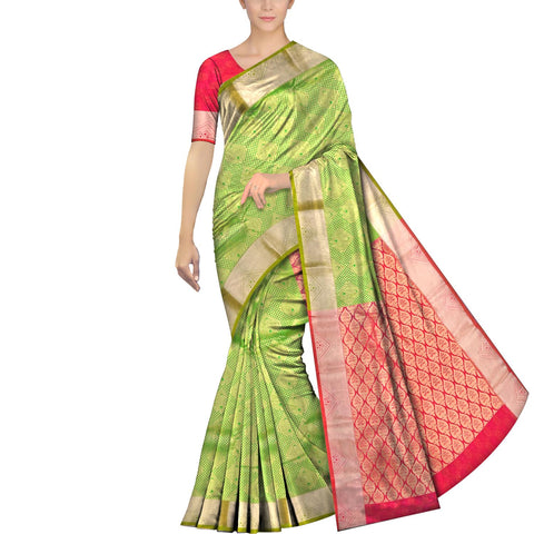 Yellow Green Kanchi Kanchi border body zari work Handweave Saree