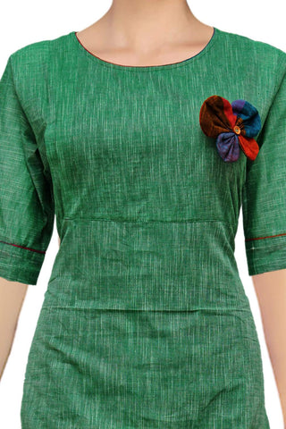 Forest Green Butterflu Patch with U Neck Apple Cut South Kurti