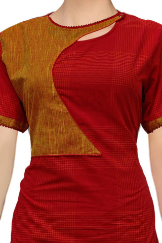 Red Stylish Half-Jacket Tunic South Kurti