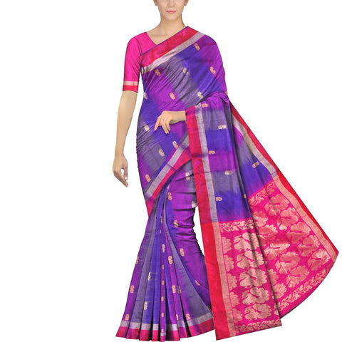 Purple Pochampally Kuppadam Pochampally body flower buta Saree