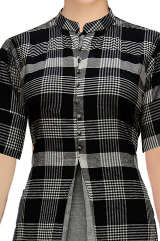 Black Stylish Checks & Solid Patch Gown Slit South Kurti