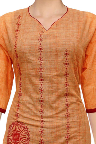 Light Salmon Wheel print Straight Cut South Kurti
