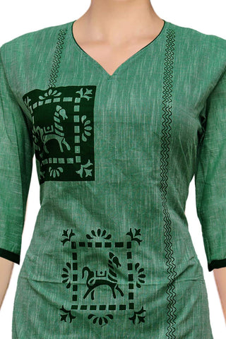 Sea Green Slub Horse buta print Straight Cut South Kurti