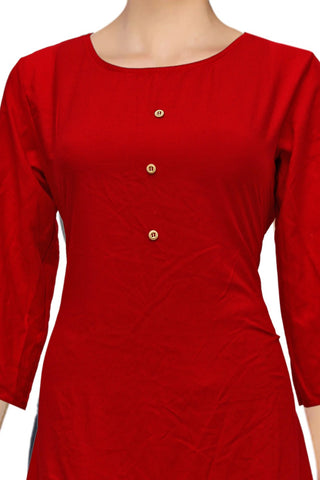 Lava Red Solid Style Apple Cut Surat Kurti