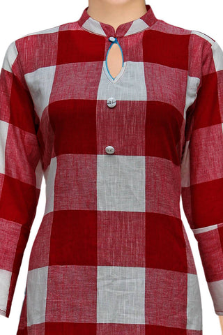 Cherry Red Checks Style A Line Handloom Kurti