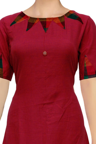 Cherry Red Arrows Neck Design Apple Cut Handloom Kurti