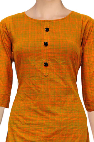 Dark Orange Round Neck Apple Cut Handloom Kurti