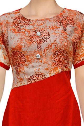 Red Floral Yoke Straight Cut Surat Kurti