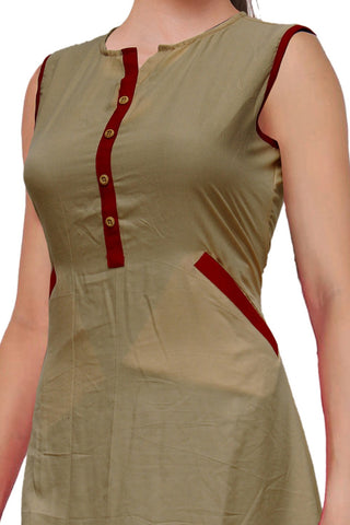 Forest Green Pockets Sleeveless Straight Cut Surat Kurti