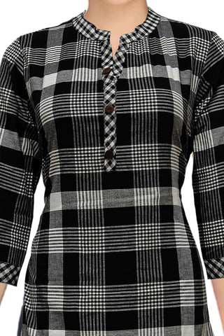 Black Chinese Collar Checks Design A Line Handloom Kurti