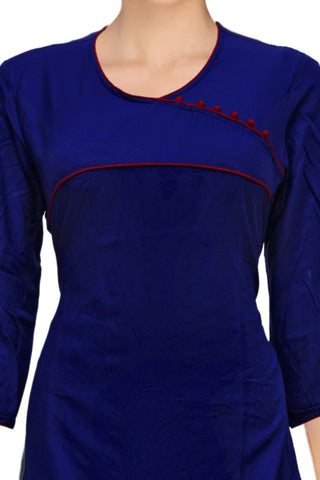 Navy Blue Solid Color A Line Surat Kurti