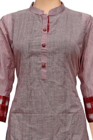 Pink Chinese Collar & Patch Hands Straight Cut Handloom Kurti