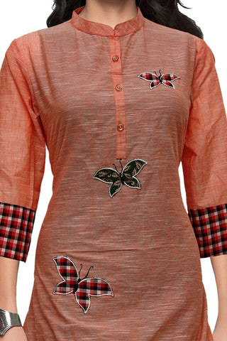 Valentine Red Butterfly Patch A Line Handloom Kurti