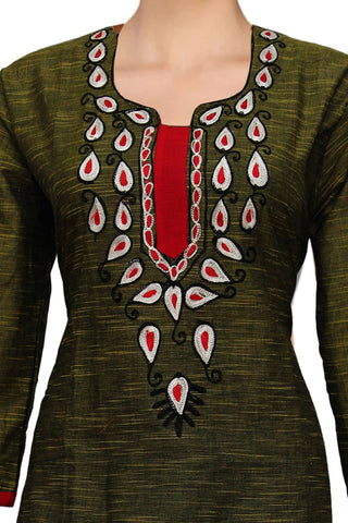 Dark Rust Embroidery Patch Straight Cut Handloom Kurti
