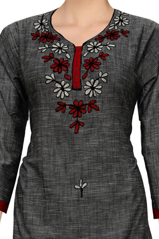 Grey Embroidery Patch Straight Cut Handloom Kurti