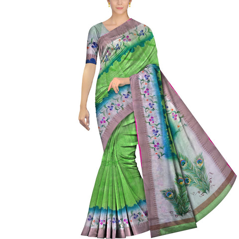 Kelly Green Surat Sarees Hand Print Mango contrast border double dyed hand print Saree