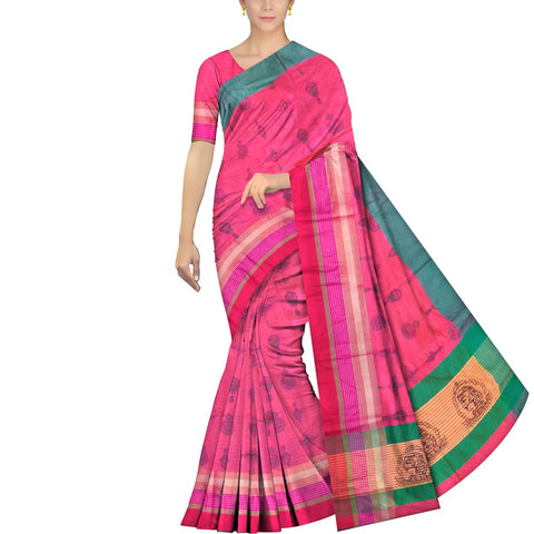 Blush Red Uppada Block Print Border lines abstract body print Saree