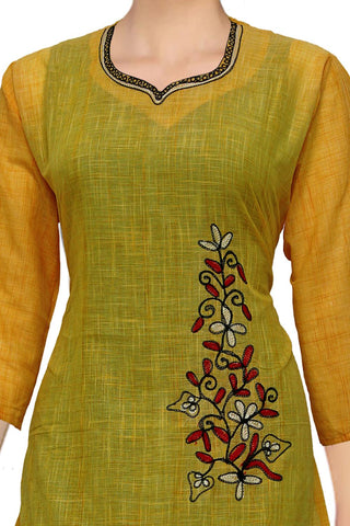 Orange Gold Stylish Embroidery A Line South Kurti