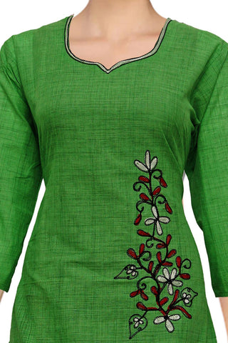 Sandy Brown Stylish Embroidery A Line South Kurti
