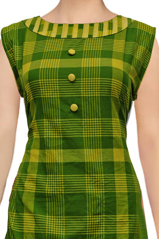 Shamrock Green Sleeveless Checked Straight Cut Handloom Kurti