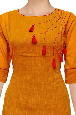 Dark Orange Round Neck with Tassels Apple Cut Handloom Kurti