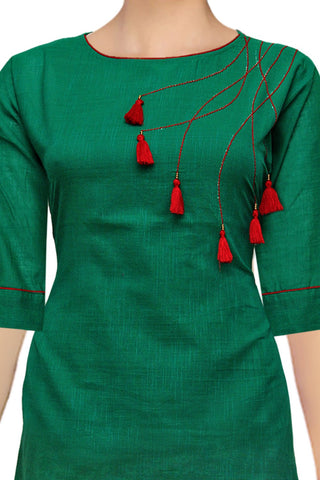 Hazel Green Round Neck with Tassels Apple Cut Handloom Kurti