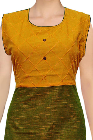 Orange Gold Sleeveless Pint-ex Design Apple Cut Surat Kurti