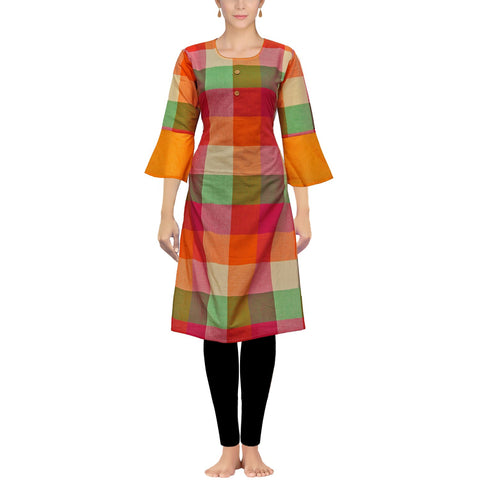 Red checks style Flounce Sleeve Straight Cut Handloom Kurti