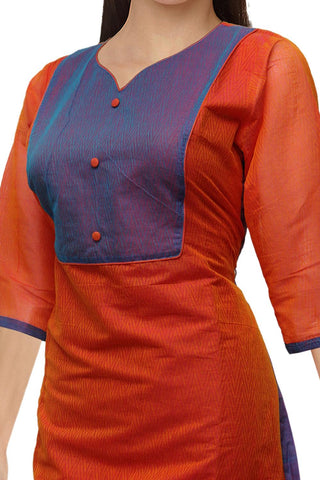 Dark Coral V Neck Body emboss  Straight Cut South Kurti