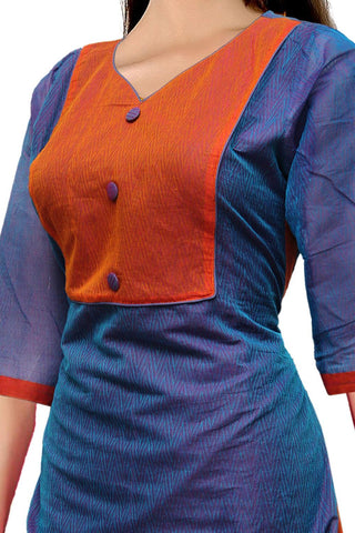 Silk Blue V Neck Body emboss  Straight Cut South Kurti